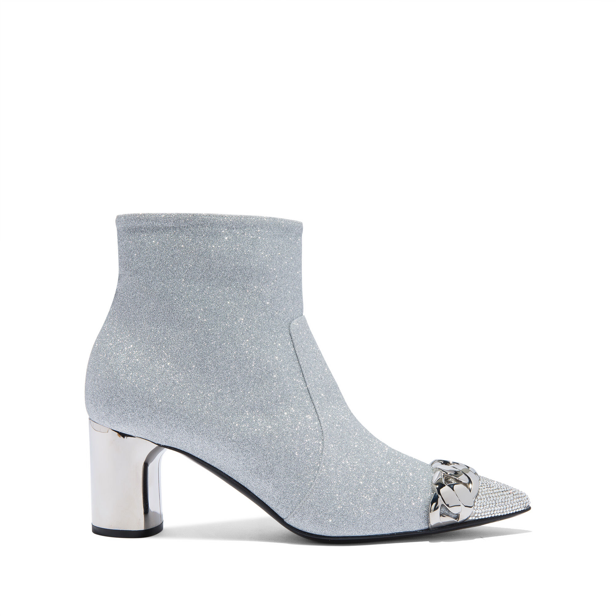 Ankle Boots Agyness Luxe in Glittered Fabric Silver | Casadei